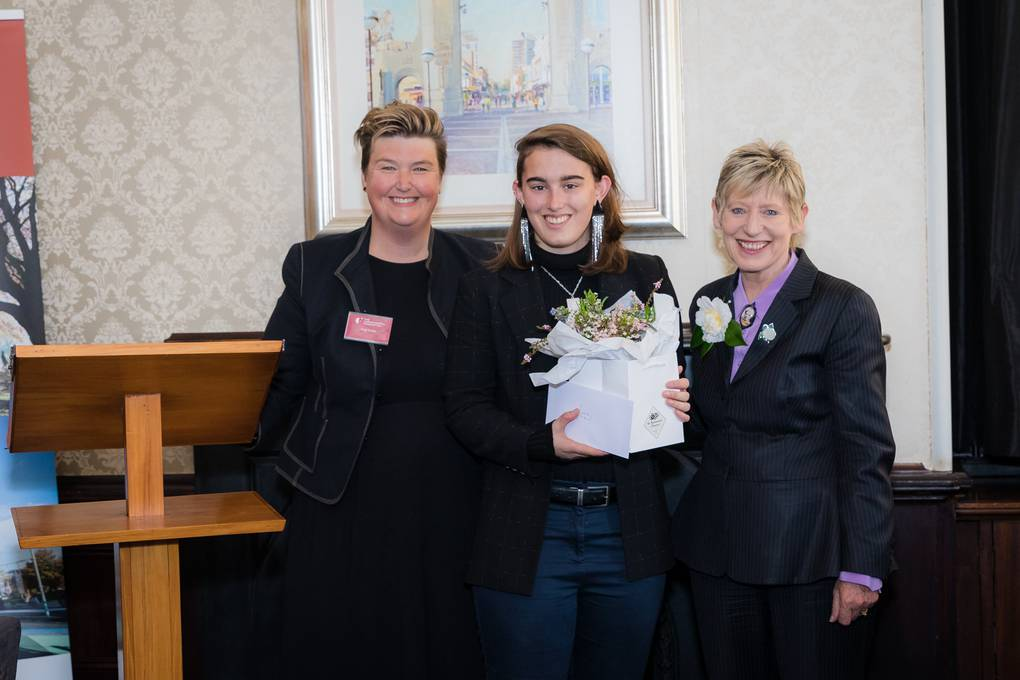 Azaria (centre) with our CEO, Amy Carter (left) and Mayor Lianne Dalziel (right)